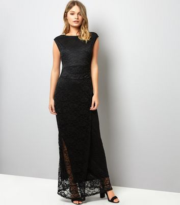 Mela Black Lace Ruched Side Maxi Dress | New Look