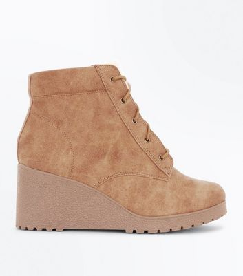 Teens Tan Lace Up Wedge Boots