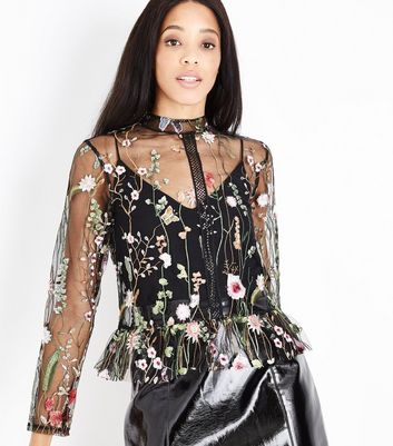 Blue Vanilla Black Floral Embroidered Mesh Top