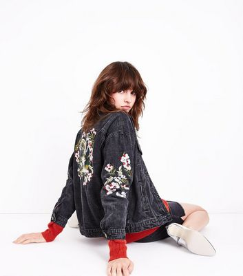 Blue Vanilla Black Acid Wash Floral Embroidered Denim Jacket