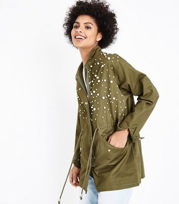 Blue Vanilla Olive Green Pearl Trim Jacket