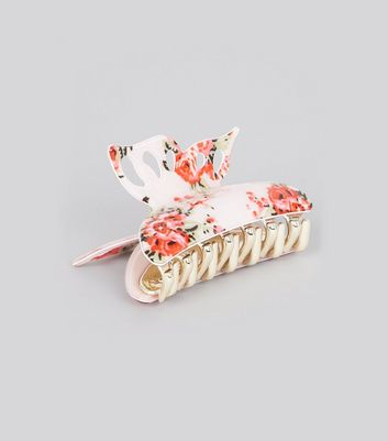 Pink Floral Print Butterfly Bulldog Clip