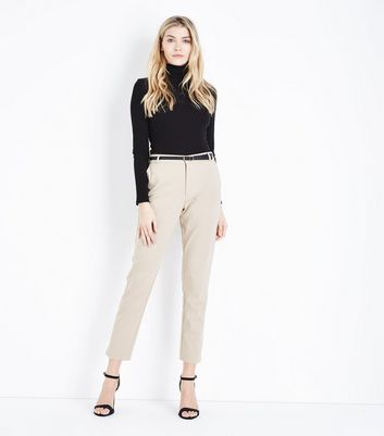 Stone Premium Belted Cropped Trousers by New Look