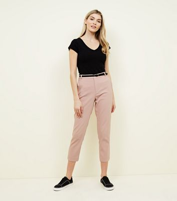 Pink Premium Belted Tailored Trousers