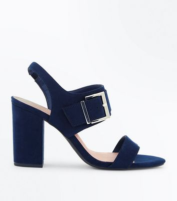 Wide Fit Navy Comfort Suedette Buckle Heeled Sandals