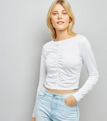 White Ruched Front Long Sleeved Top