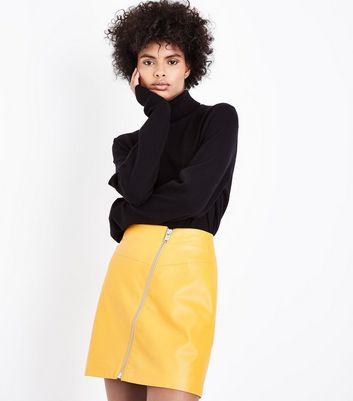 Yellow Asymmetric Leather-Look Mini Skirt