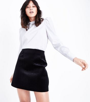Black Embossed Velvet Mini Skirt