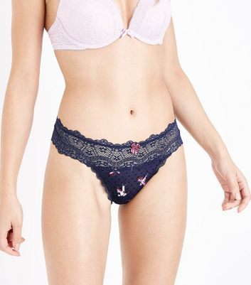 Blue Bird Print Lace Trim Thong