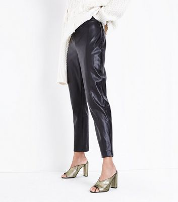 Black Leather-Look Slim Leg Trousers