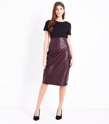 Burgundy Seam Detail Leather-Look Pencil Skirt