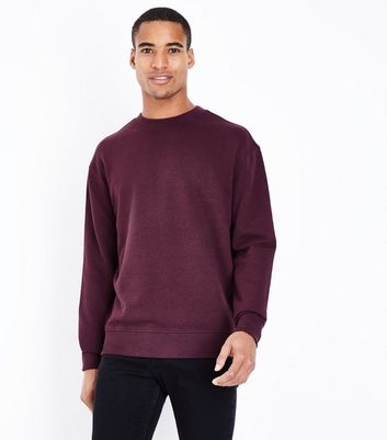 Dark Red Ribbed Panel Sweatshirt