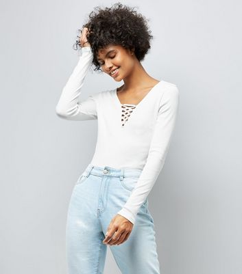 White Lace Up Neck Long Sleeve Top
