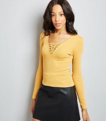 Yellow Lace Up Neck Long Sleeve Top