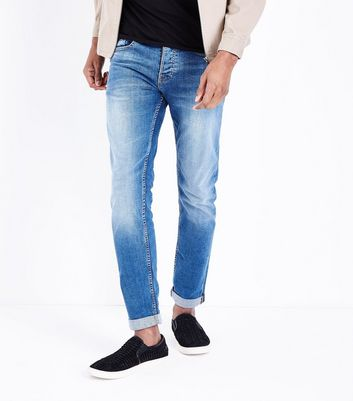 Light Blue Rolled Hem Slim Leg Jeans