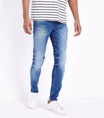 Blue Distressed Skinny Stretch Jeans