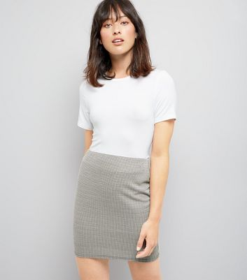 Black Dogtooth Mini Tube Skirt
