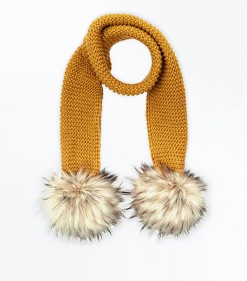 Yellow Faux Fur Pom Pom Scarf