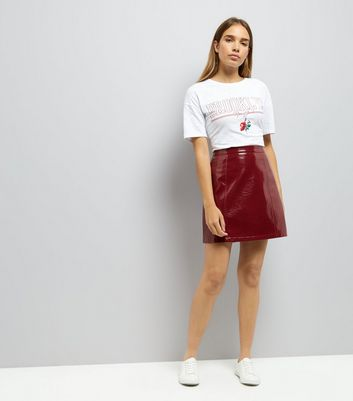 Dark Red Vinyl Mini Skirt