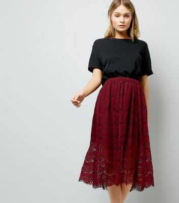Burgundy Lace Midi Skirt