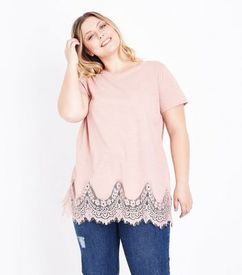 Curves Shell Pink Lace Hem Oversized T-Shirt