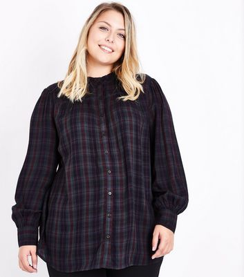 Curves Green Check Frill Collar Shirt