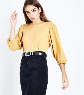 Mustard Yellow 3/4 Balloon Sleeve Top