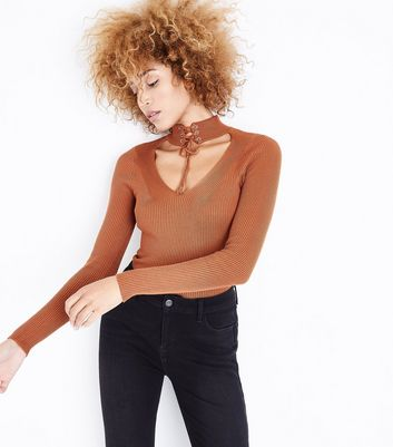 Pink Vanilla Brown Lace Up Choker Neck Top