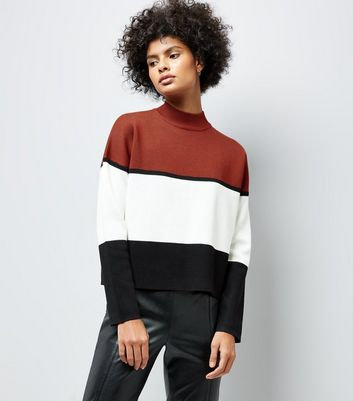 Rust Colour Block Jumper