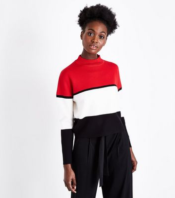Red Colour Block Jumper