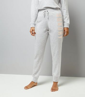 Petite Grey Sunday Slogan Joggers