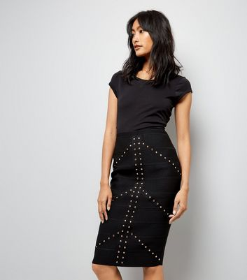 Black Studded Bandage Pencil Skirt