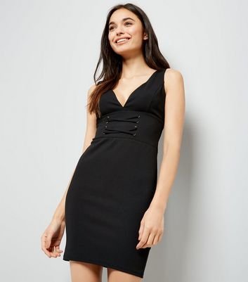 Black Corset Front Plunge Neck Bodycon Dress