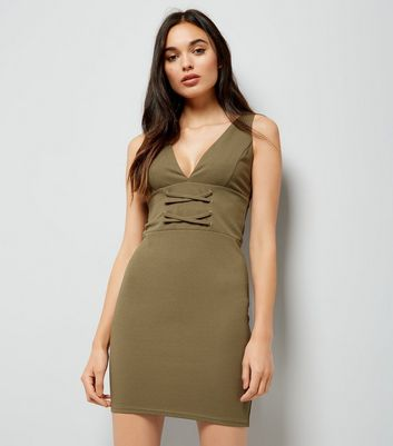 Khaki Corset Front Plunge Neck Bodycon Dress