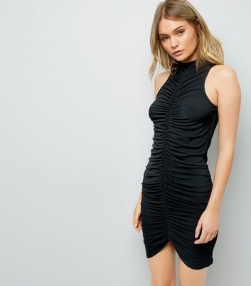 Black Ruched Front High Neck Bodycon Dress