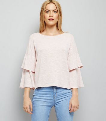 Shell Pink Tiered Sleeve Top