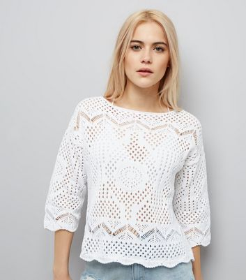 White Crochet Scallop Hem Top