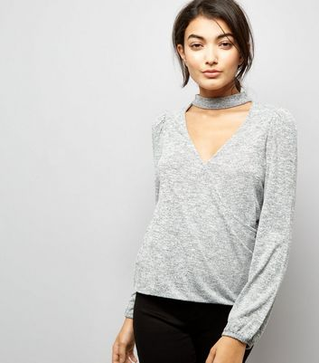 Pale Grey Choker Neck Wrap Front Top