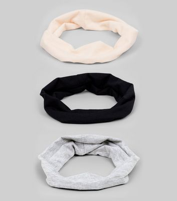 3 Pack Pink, Black and Grey Jersey Stretch Headbands
