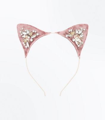 Pink Embellished Velvet Cat Ears Headband