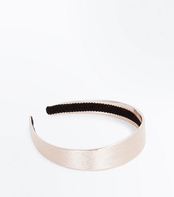 Rose Gold Leather-Look Wide Hair Band