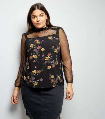 Curves Black Floral High Neck Blouse
