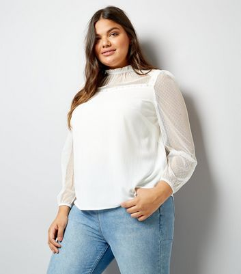 Curves Cream Lace Trim Blouse