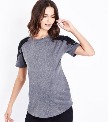Maternity Dark Grey Applique Shoulder T-Shirt