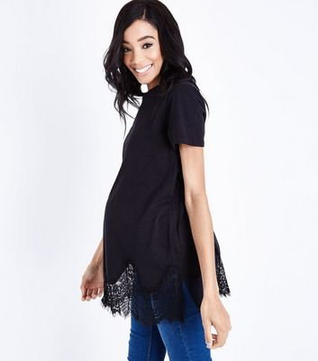Maternity Black Lace Hem Oversized T-Shirt