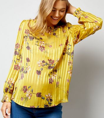 Maternity Yellow Stripe Floral Print Blouse