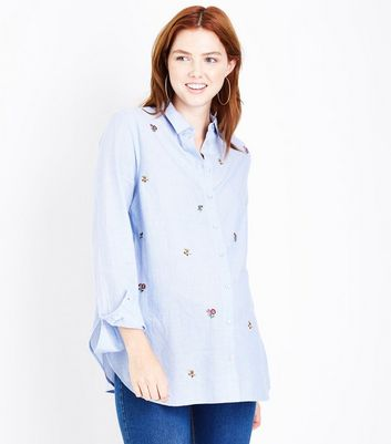 Maternity Blue Floral Embroidered Shirt