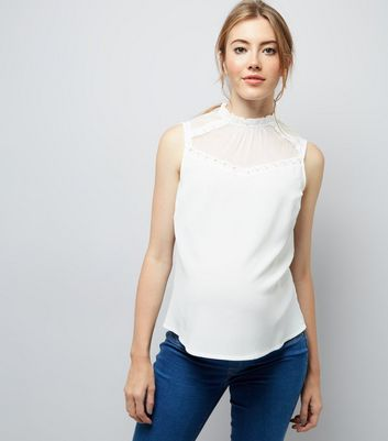 Maternity Cream Sheer Lace Panel Sleeveless Top