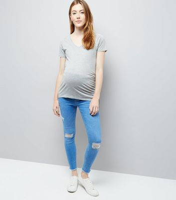 Maternity Bright Blue Under Bump Ripped Jeans