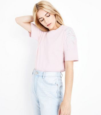 Tall Pink Applique Shoulder T-Shirt